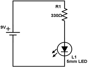 Simplest LED circuit diagram