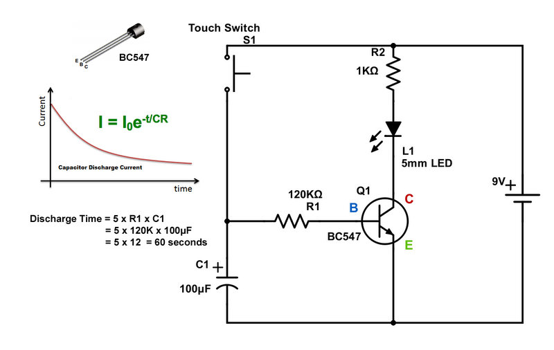 Auto Off LED Night Lamp Using NPN Transistor