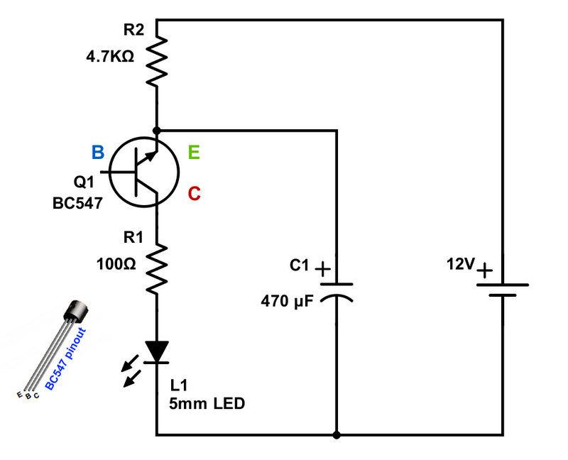 blinking led with single transistor