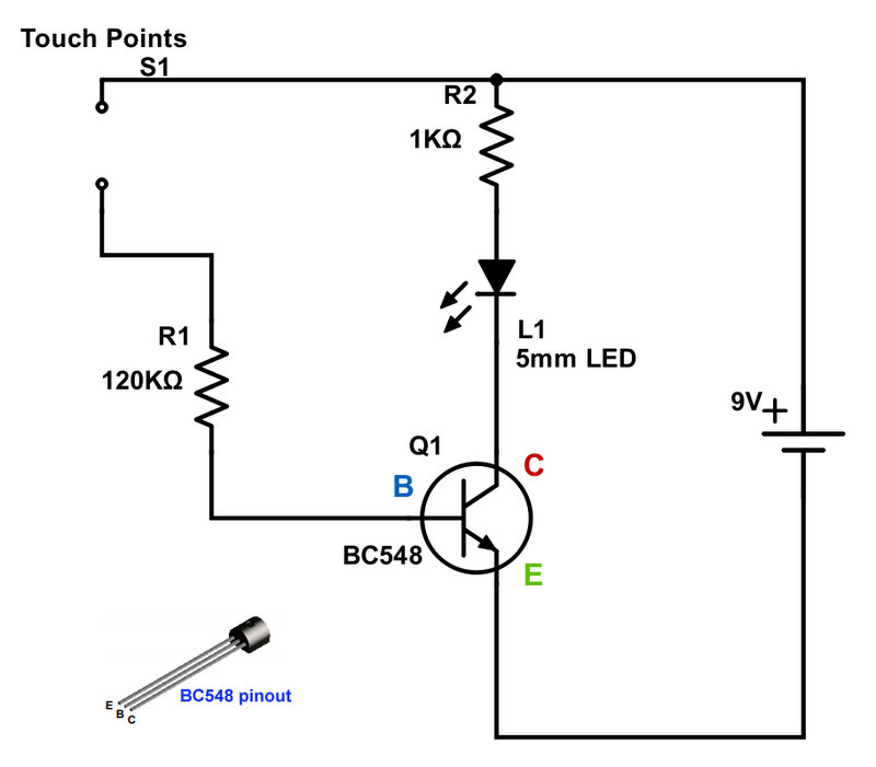 Touch Switch Circuit with BC548 Transistor